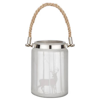 Deer Glass Lantern with Rope Handle