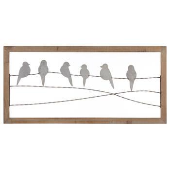 Metal Perched Birds Wall Art