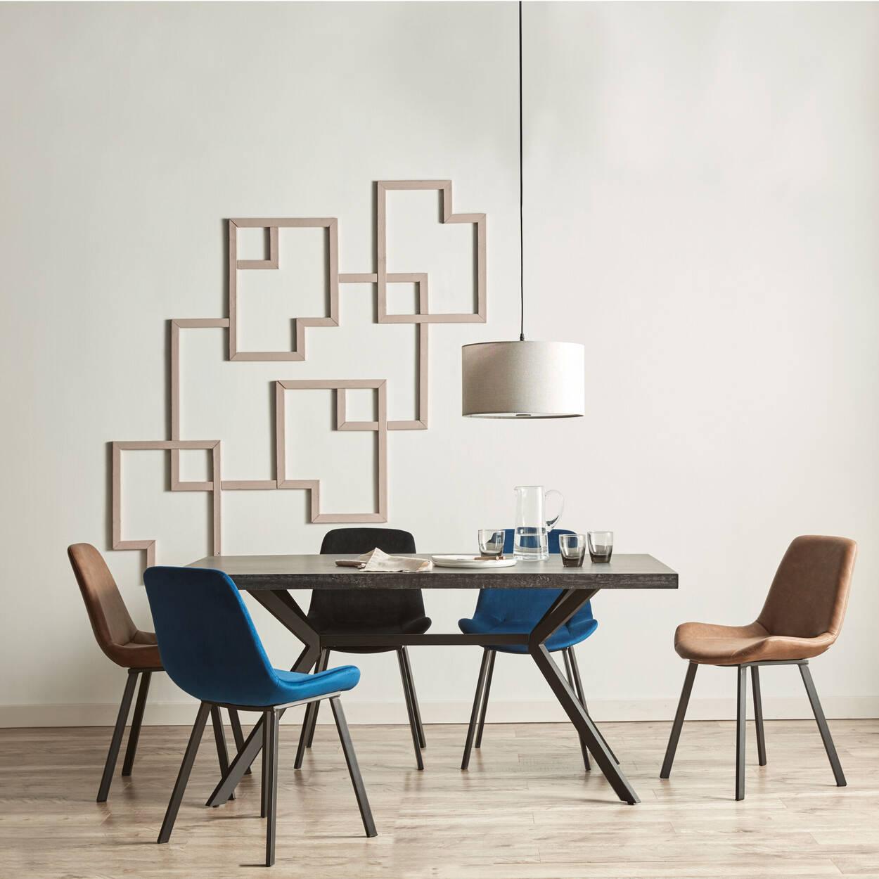 Chaise de salle à manger en similicuir texturé et en fer