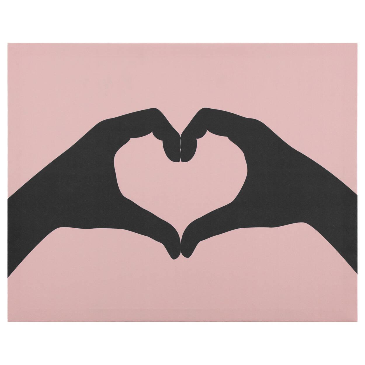 Tableau imprimé mains en forme de cœurs