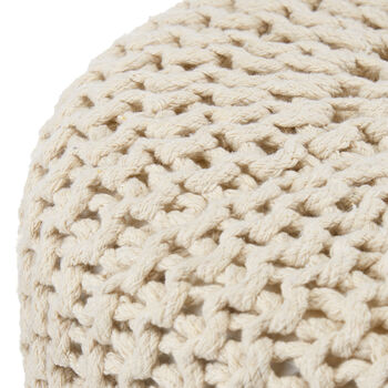 Wood and Cotton Knitted Stool