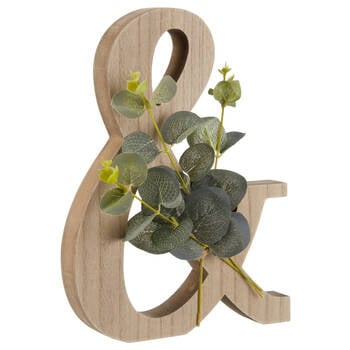 Decorative Wooden Ampersand with Eucalyptus
