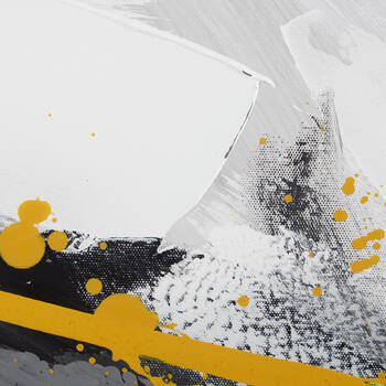 Yellow Wave Abstract Oil-Painted Canvas