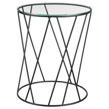 Table d'appoint en tige de métal et en verre