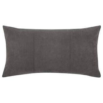 "Grigio Faux Suede Decorative Lumbar Pillow 14"" X 26"""