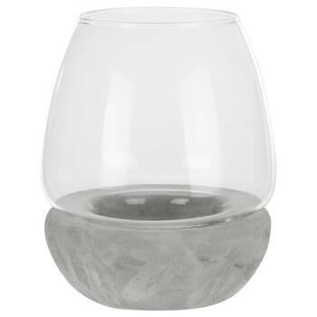 Petit porte-chandelle en verre et en ciment