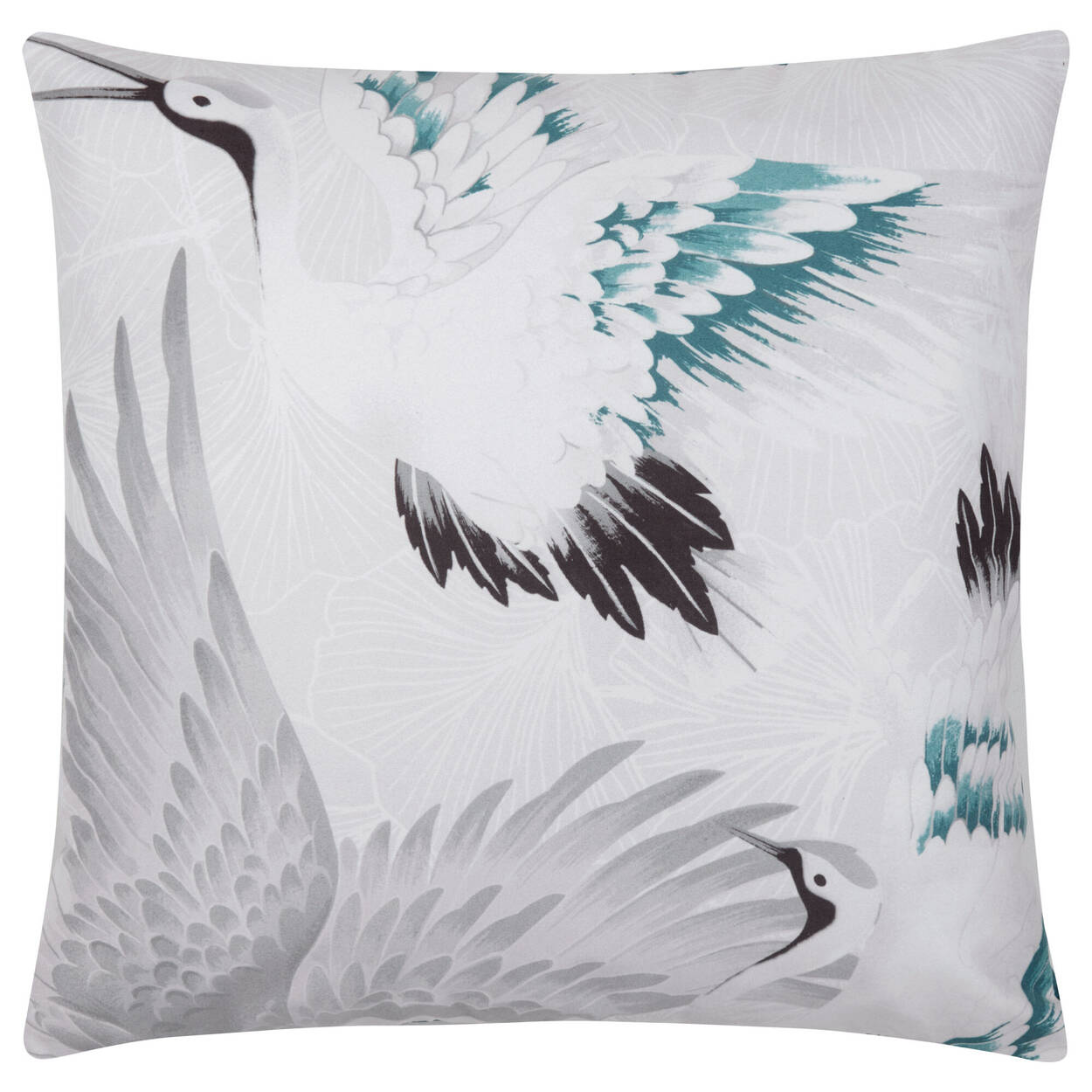 "Cranes Decorative Suede Pillow 19"" X 19"""