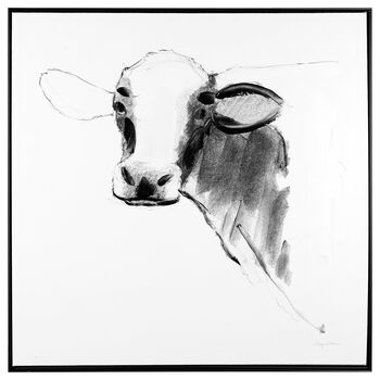 Embellished Sketched Cow Framed Art