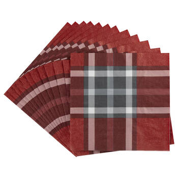 Red Plaid Paper Napkins