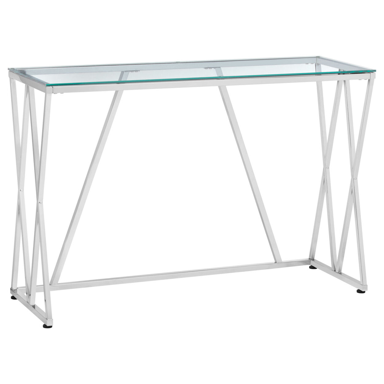 sofa table.  Sofa Chrome Metal And Glass Console Table On Sofa