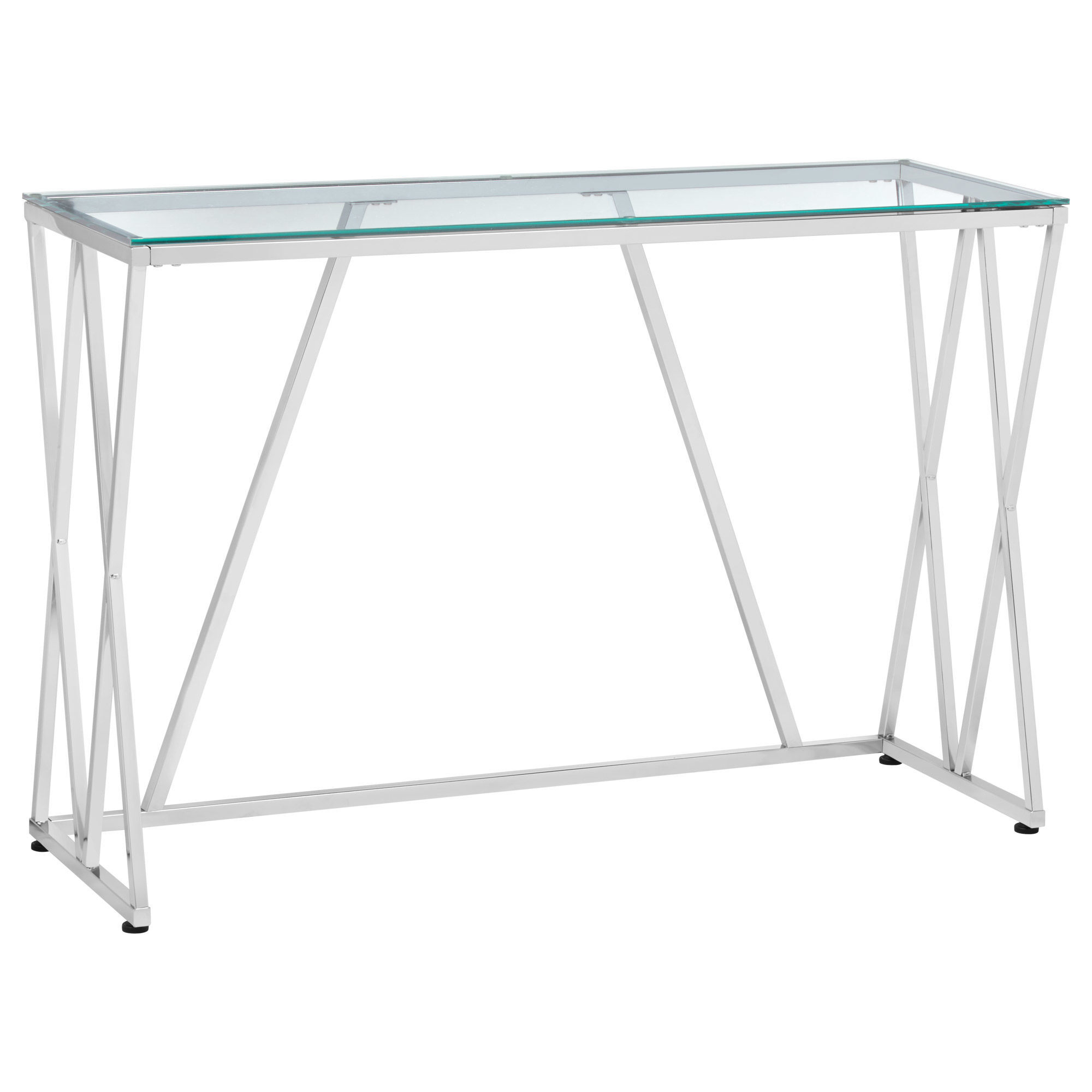 Beau Chrome Metal And Glass Console Table