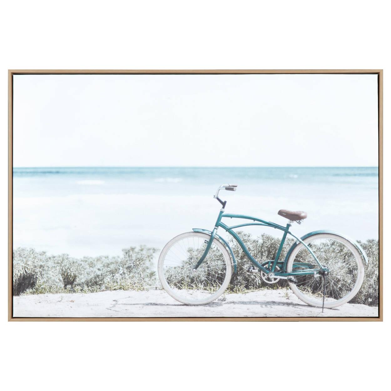 Tableau encandré bicyclette sur plage