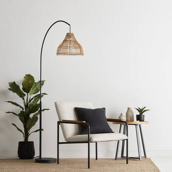 Arched Rattan Floor Lamp