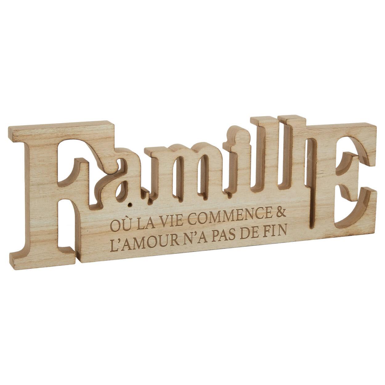 Mot décoratif en bois Famille