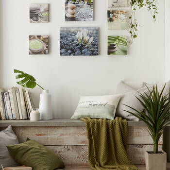 Set of 3 Flowers and Rocks Printed Canvases