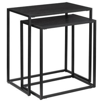 Set of 2 Black Wood & Metal Side Tables