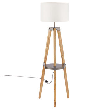 Wood and Steel Tripod Floor Lamp