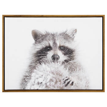 Snowy Raccoon Printed Framed Art