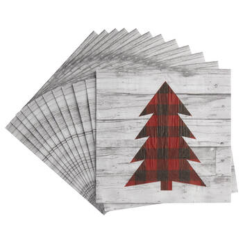 Pack of 20 Plaid Tree Table Napkins