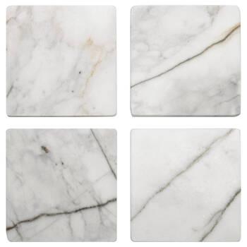 Ensemble de 4 sous-verres carrés en marbre