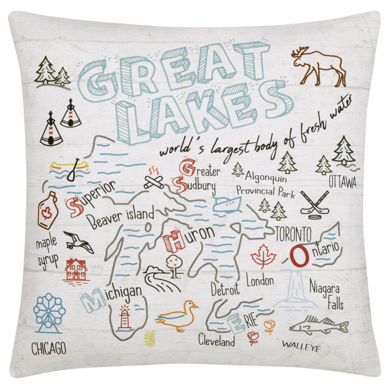 "Great Lakes Decorative Pillow 18"" X 18"""