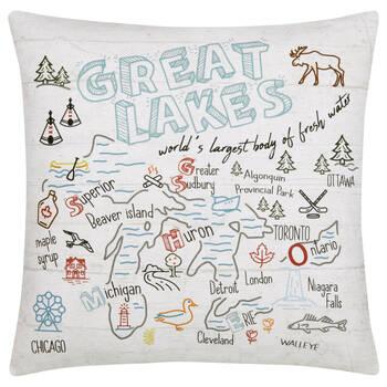 "Great Lakes Decorative Pillow 18"" X 18"""