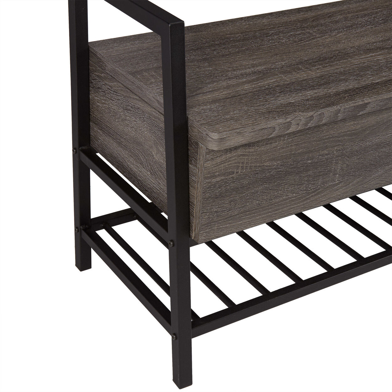 Wood Veneer Storage Bench with Matte Metal Base
