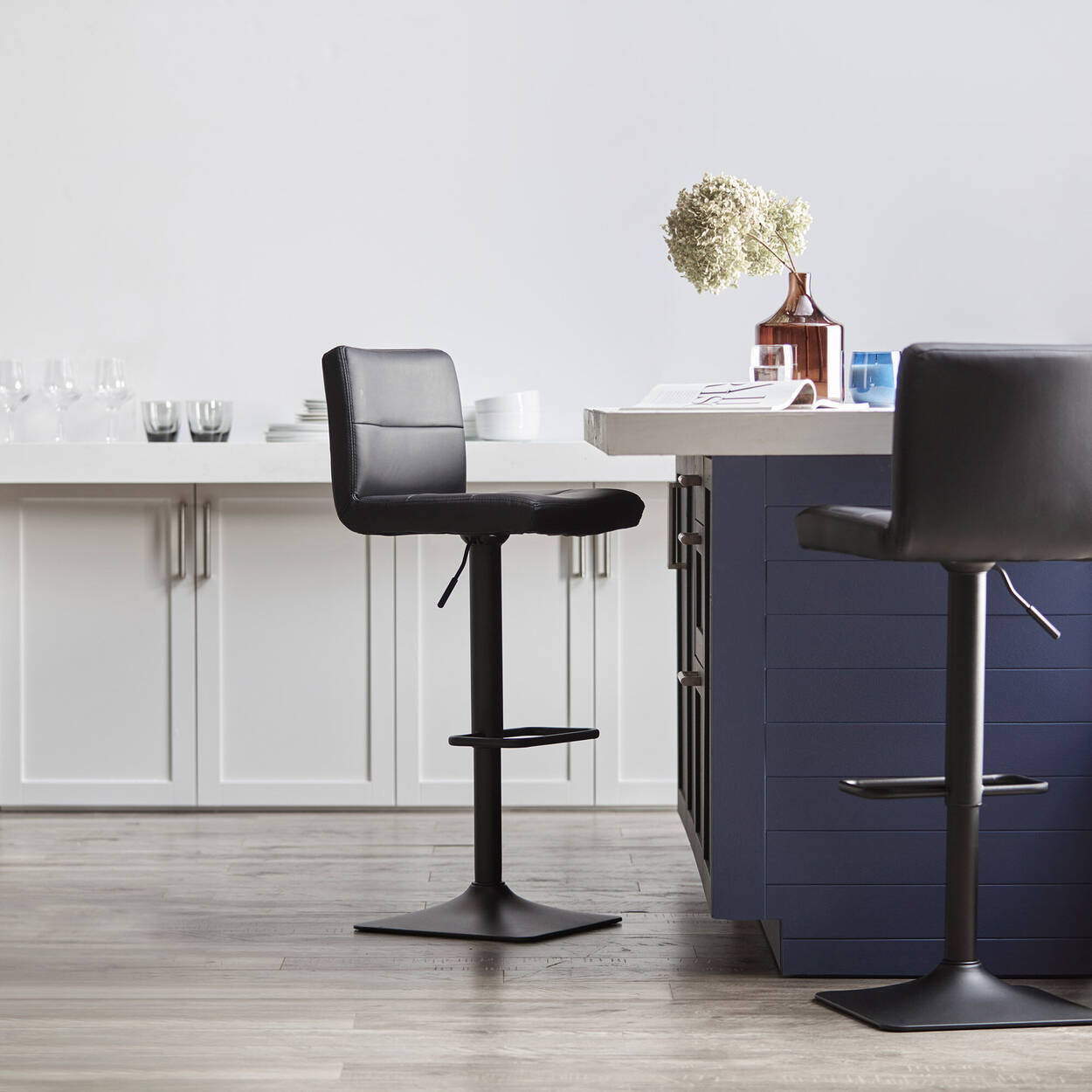 Matte Faux Leather and Chrome Adjustable Bar Stool