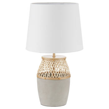 Cement and Rattan Table Lamp