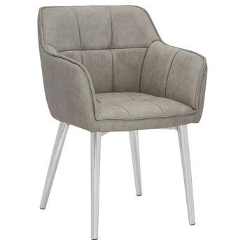 Chaise de salle à manger en simili-cuir texturé et en chrome