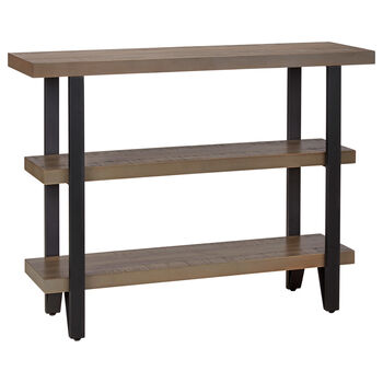 Three-Shelf Pine Wood and Metal Console Table