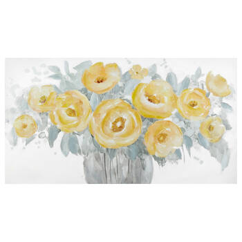 Yellow Floral Oil Painted Canvas
