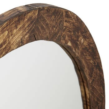 Round Wood-Framed Mirror