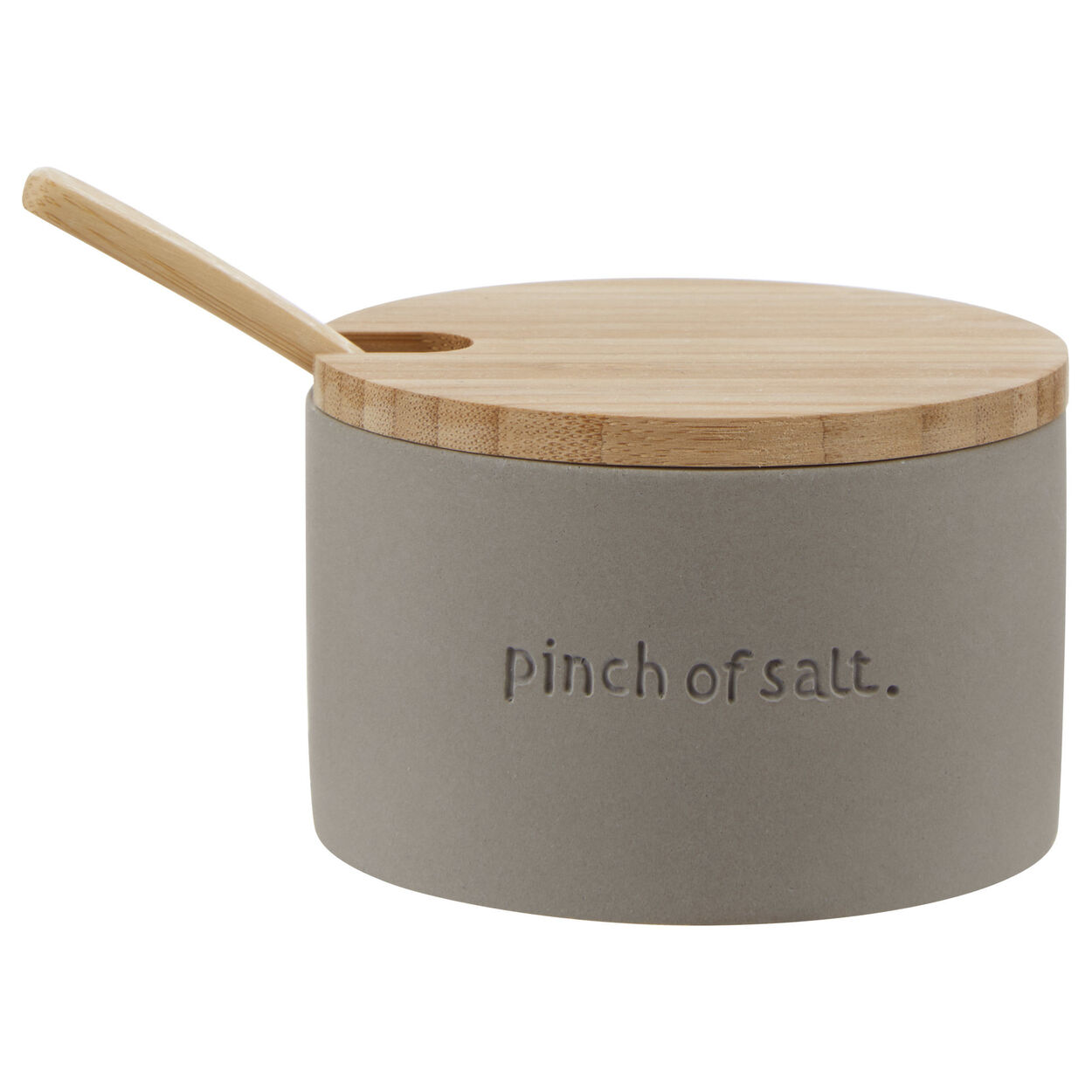 Cement Salt Jar with Bamboo Lid and Spoon