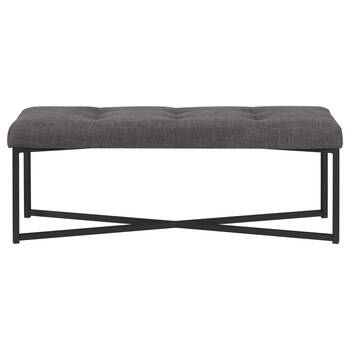 Tufted Fabric and Metal Bench