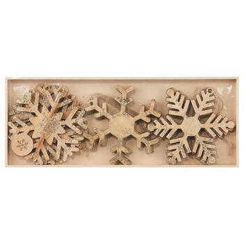 Set of 9 Wooden Snowflake Ornaments