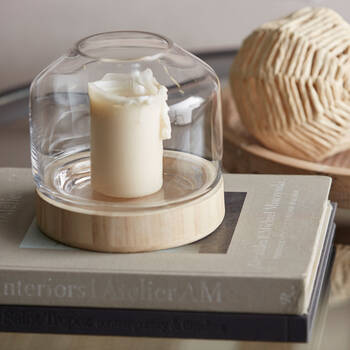 Wood and Glass Candle Holder