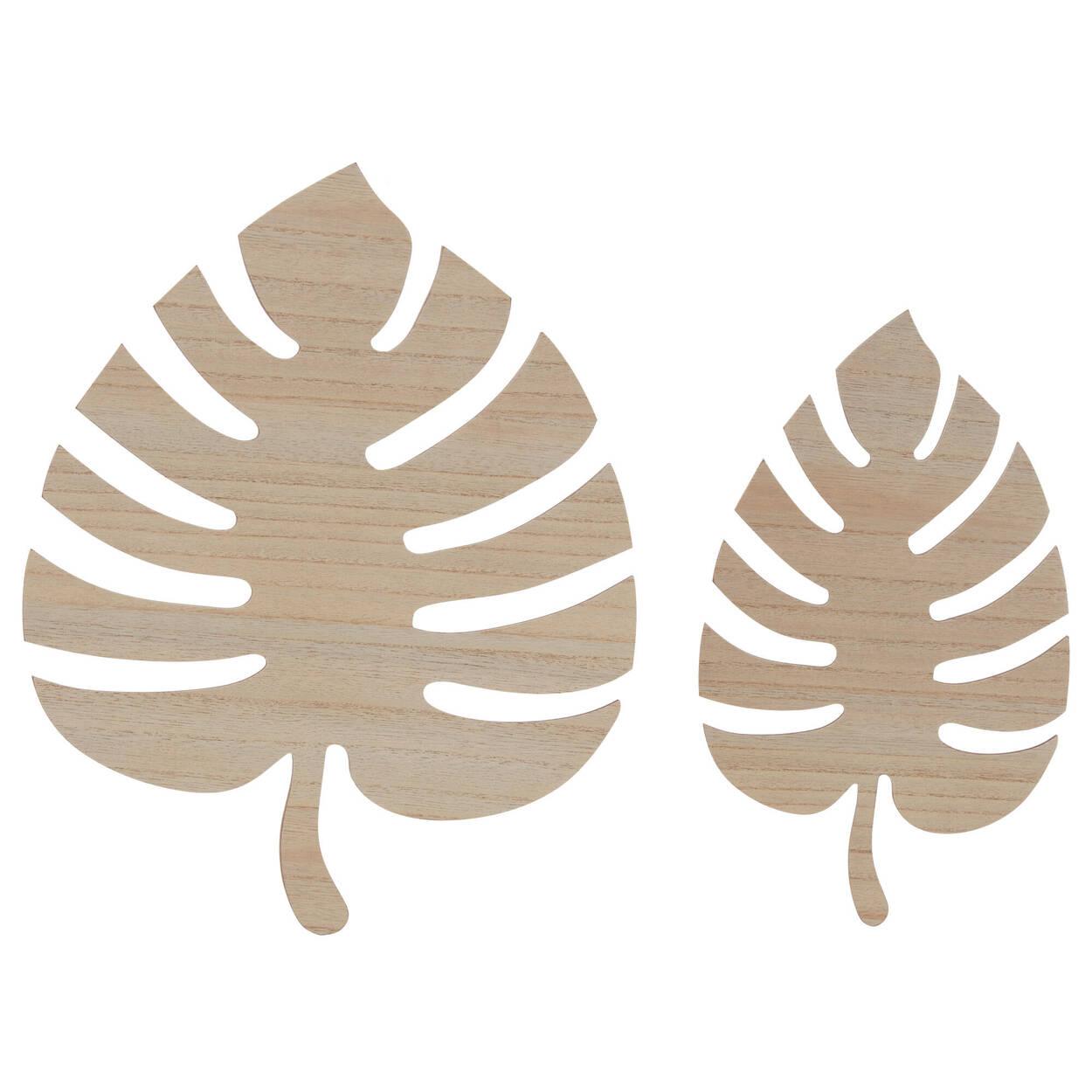 2 Feuilles de palmier murales en bois