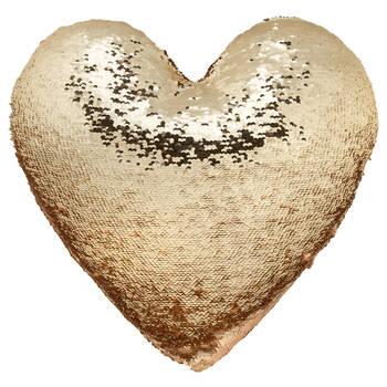"Luna Heart-Shaped Sequined Decorative Pillow 15"" X 16"""
