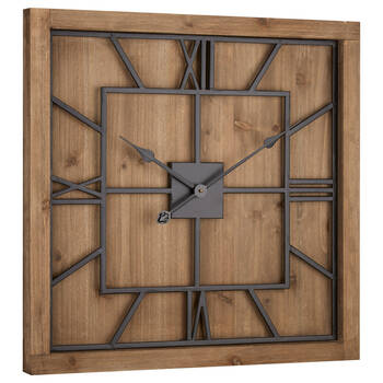 Wood and Metal Square Clock