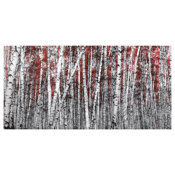 Red Birch Forest Printed Canvas