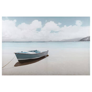 Boat on Beach Printed Canvas
