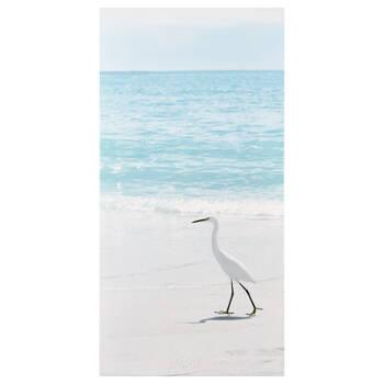 Crane on Beach Printed Canvas
