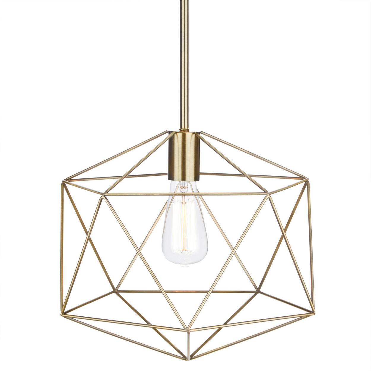 Lampe suspendue en fil de métal doré