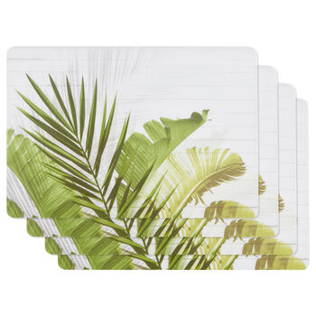 Set of 4 Wood and Cork Tropical Leaves Placemats