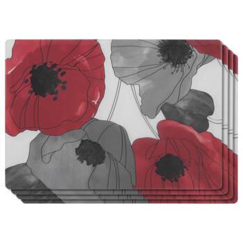 Ensemble de 4 napperons floraux en PVC