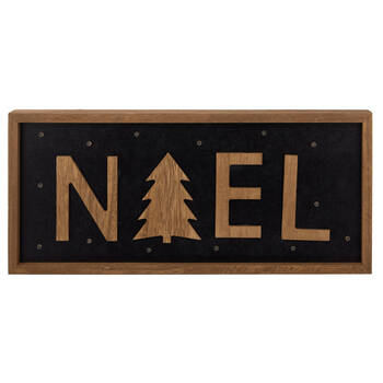 Decorative Wood Plaque Noël with LED lights
