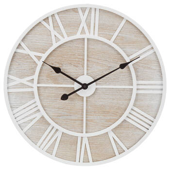 White Washed Wood Wall Clock