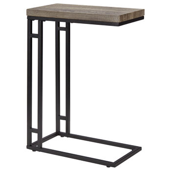 Wood Veneer & Metal Side Table