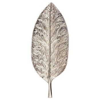 Silver Embossed Leaf Tray